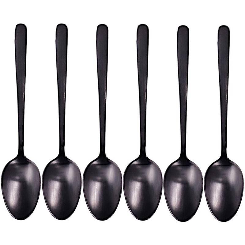 Lingură neagră, lingură mică din oțel pentru cafea, ceai, set, set de linguri negre, 6 bucăți