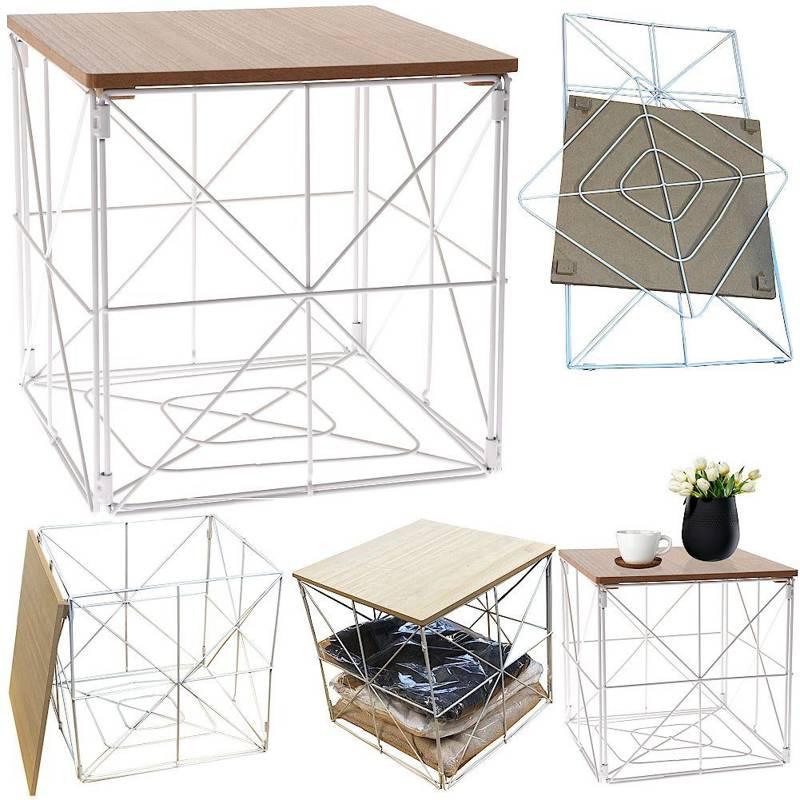 Masă de sârmă, metal, masă de cafea, coș, loft, modern, alb
