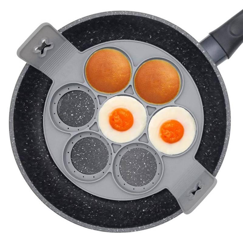 Matriță de silicon pentru ouă prăjite, pentru ouă, clătite, clătite, clătite, clătite, rotunde, 7 bucăți
