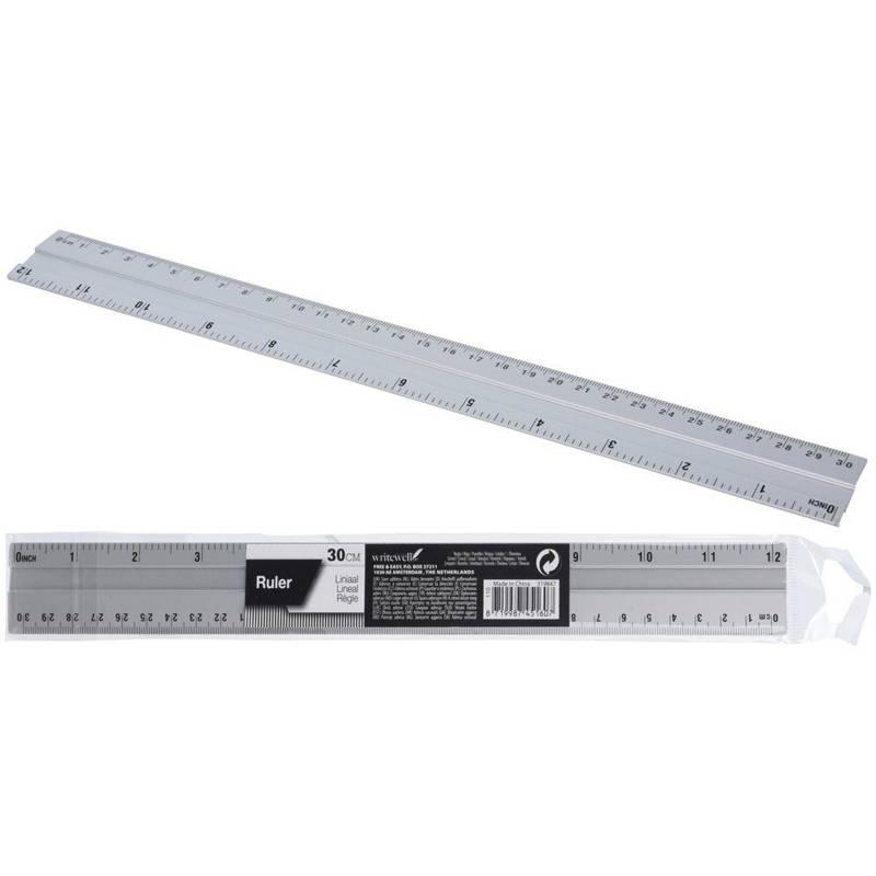 Riglă metalică, aluminiu, antiderapantă, 30 cm