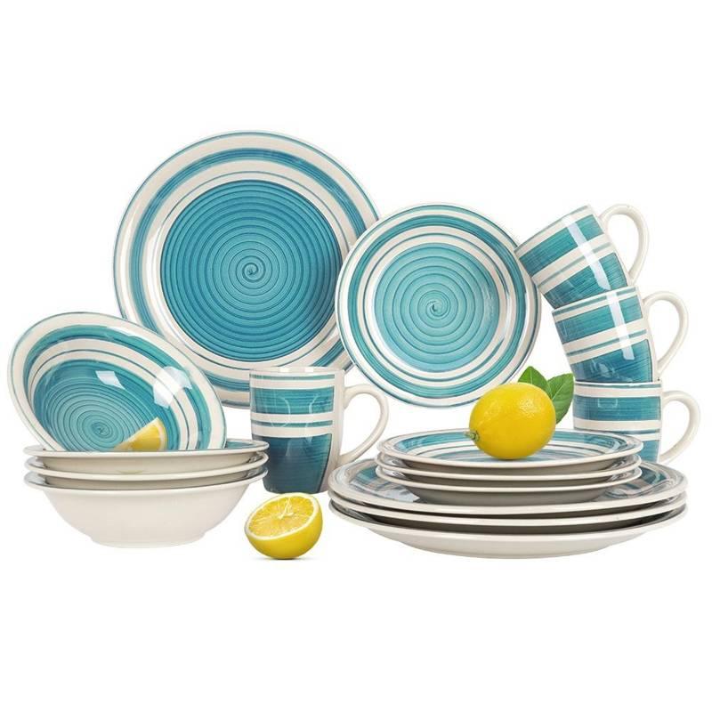 Set, serviciu de cină, castron, farfurie, farfurie mică, cană 16 buc, albastru