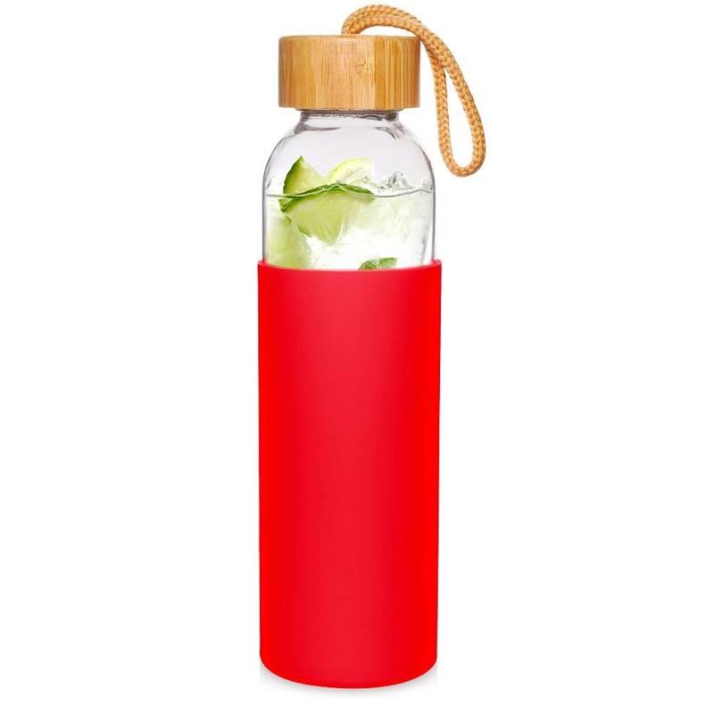 Sticlă de sticlă siliconată pentru apă, suc, limonadă, smoothie, cocktail, 0,5 l, roșu