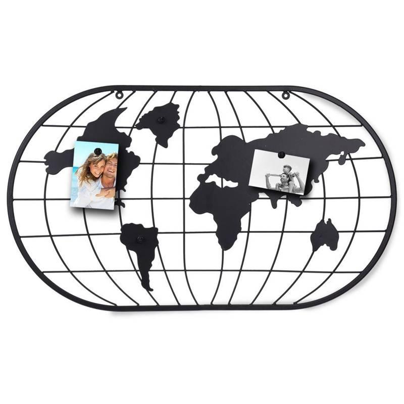 Tablă magnetică, harta lumii, ramă, grilă metalică pentru fotografii, carduri